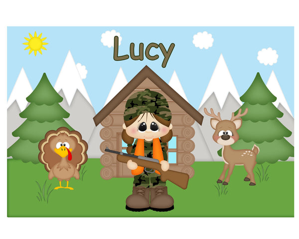 Hunting Girl Kids Placemat