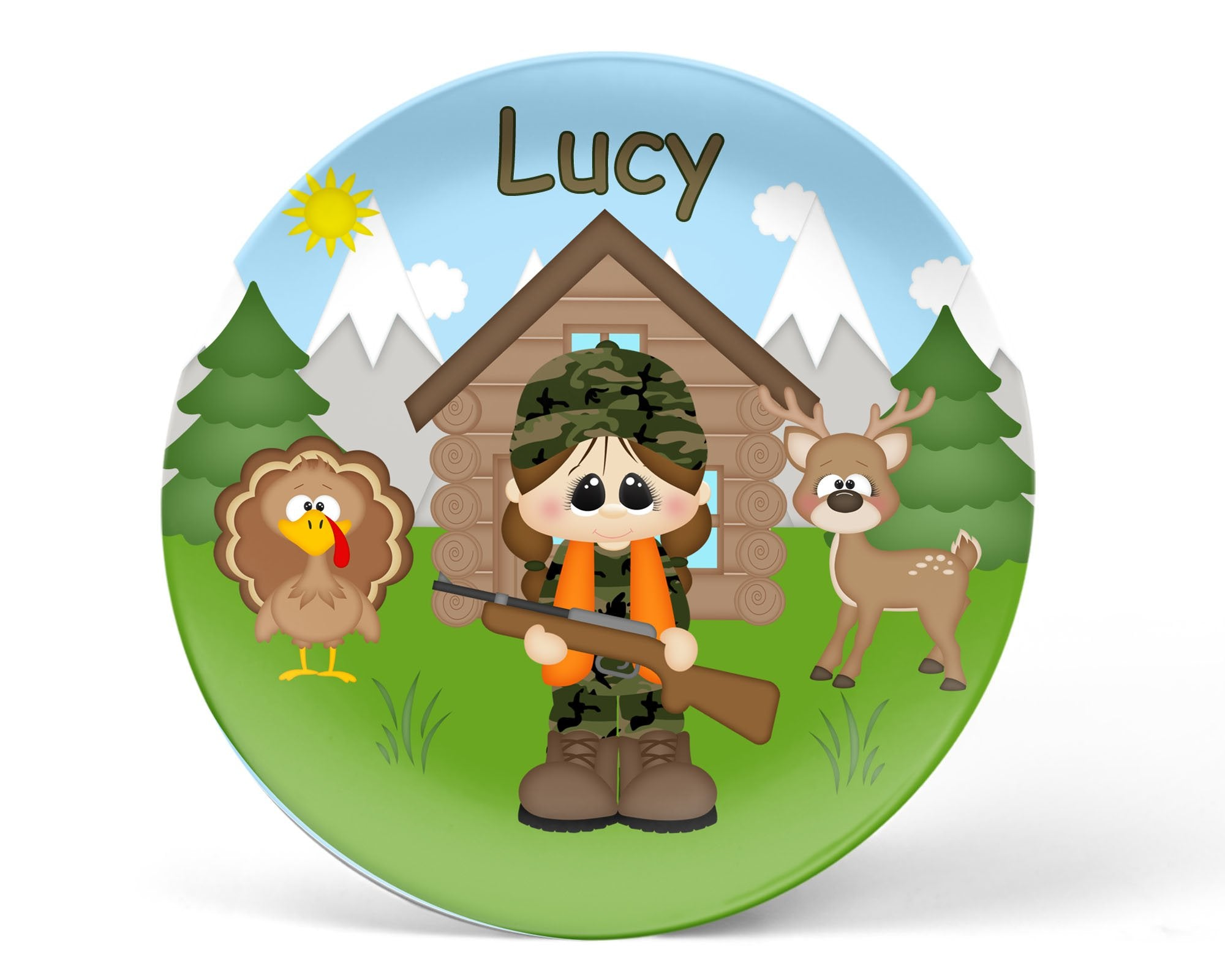 Hunting Girl Kids Plate