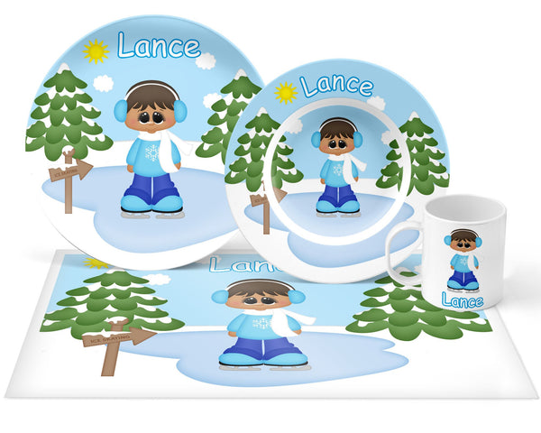 Ice Skating Boy Kids Placemat