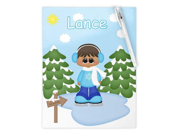 Ice Skating Boy Kids Notebook