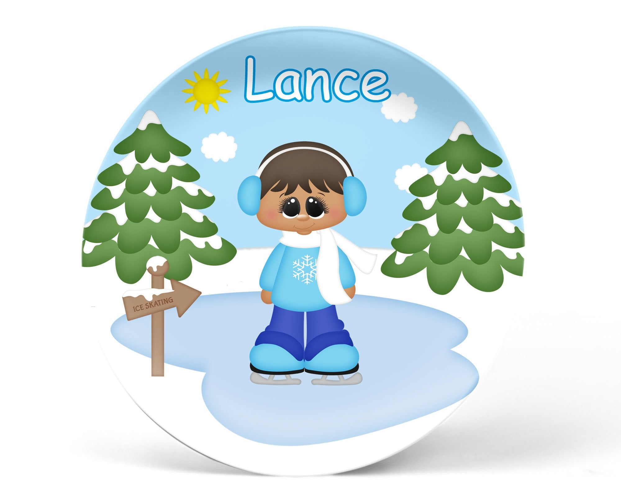 Ice Skating Boy Kids Plate