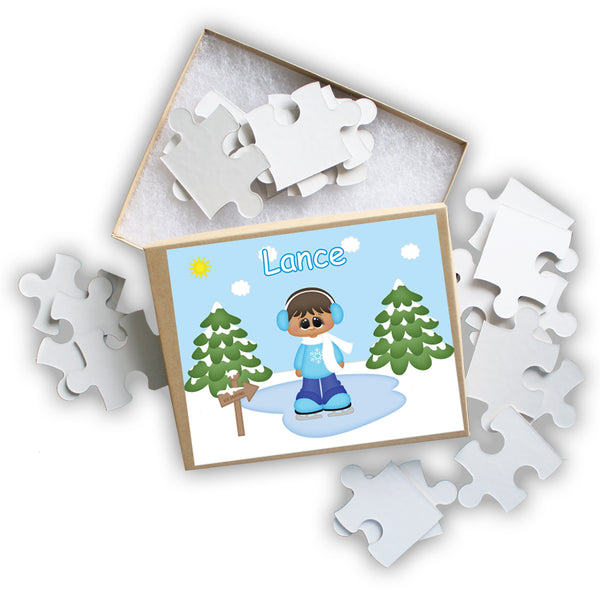 Ice Skating Boy Kids Personalized Puzzle