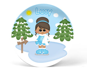 Ice Skating Girl Kids Plate