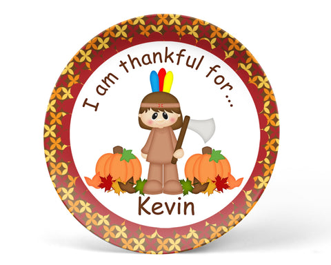 Thanksgiving Indian Boy Kids Plate