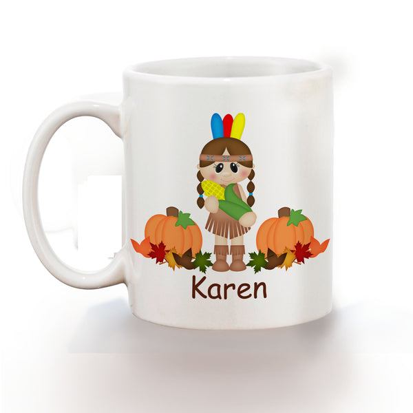 Thanksgiving Indian Girl Kids Mug