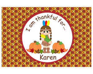 Thanksgiving Indian Girl Kids Placemat