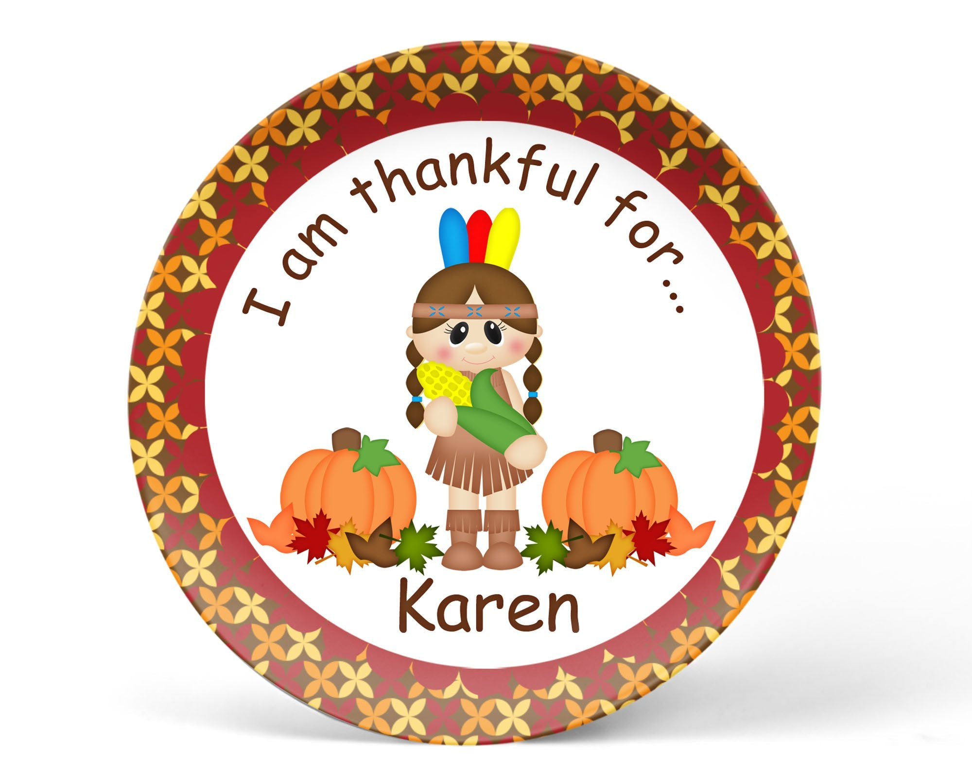 Thanksgiving Indian Girl Kids Plate