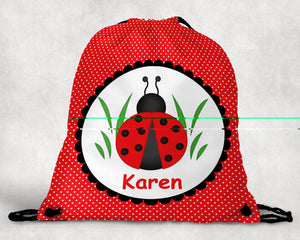 Ladybug Red Personalized Drawstring Bag