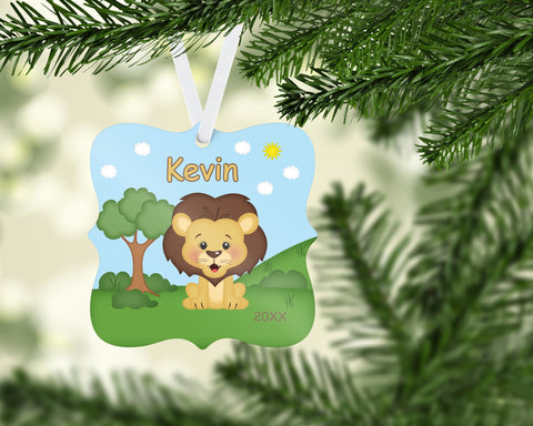 In the Jungle Lion Personalized Christmas Ornament