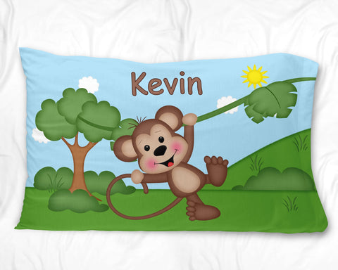 At the Zoo Monkey Pillow Case