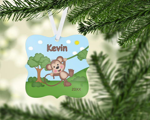 In the Jungle Monkey Personalized Christmas Ornament