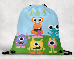 Silly Monsters Personalized Drawstring Bag
