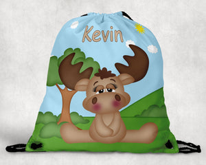 Cute Woodland Moose Personalized Drawstring Bag