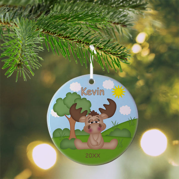 Cute Woodland Moose Christmas Ornament