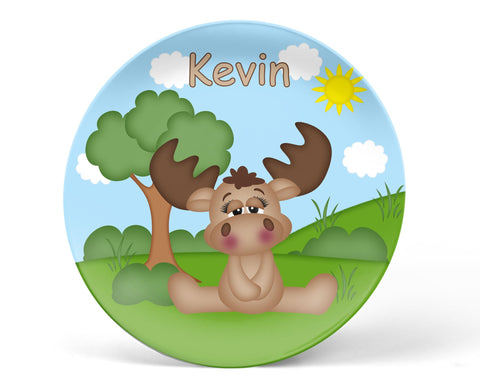 Cute Woodland Moose Kids Plate