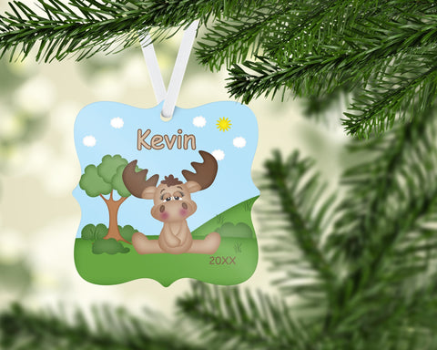 Woodland Moose Personalized Christmas  Ornament