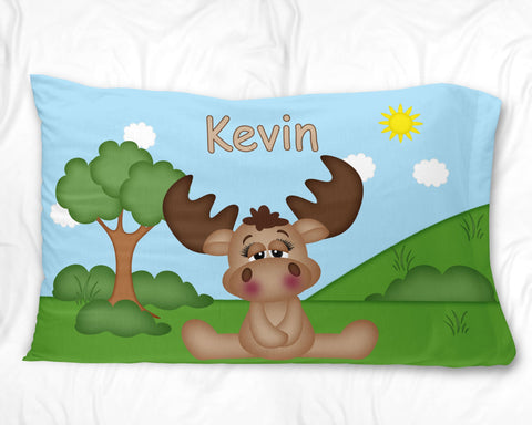 Cute Woodland Moose Pillow Case
