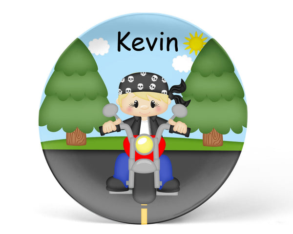Motorcycle Boy Kids Plate