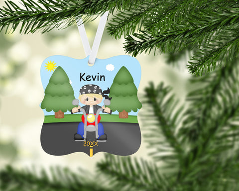 Lets Ride Motorcycle Personalized Christmas Ornament