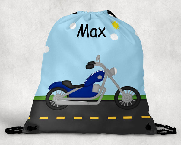 Lets Ride Motorcycle Personalized Drawstring Bag