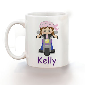 Motorcycle Girl Kids Mug