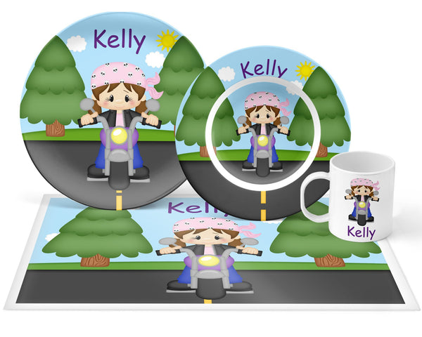 Motorcycle Girl Kids Plate