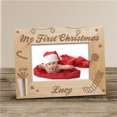 My First Christmas Engraved Picture Frame