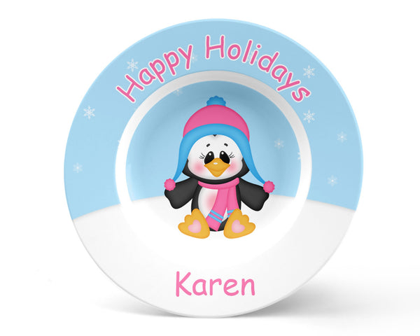 Christmas Penguin Girl Kids Bowl
