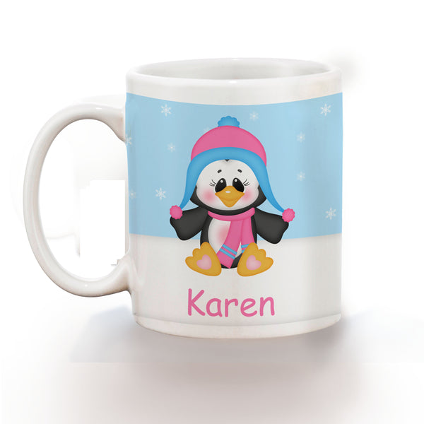 Christmas Penguin Girl Kids Mug