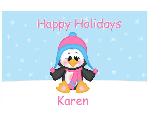 Christmas Penguin Girl Kids Placemat
