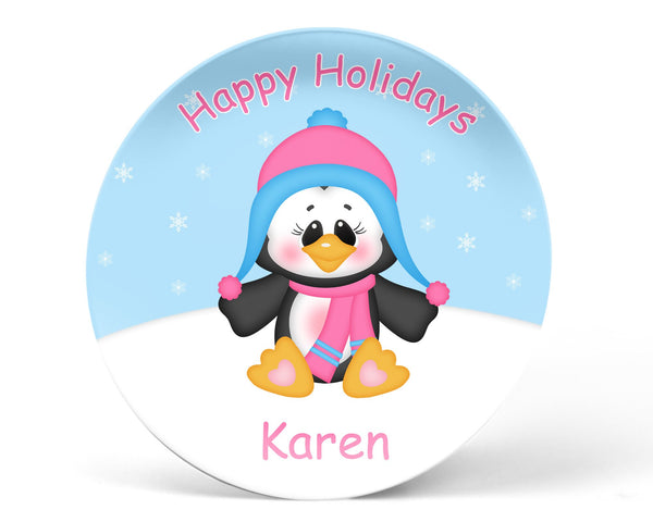 Christmas Penguin Girl Kids Plate