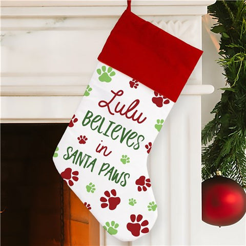 Believes in Santa Paws Personalized Christmas Stocking
