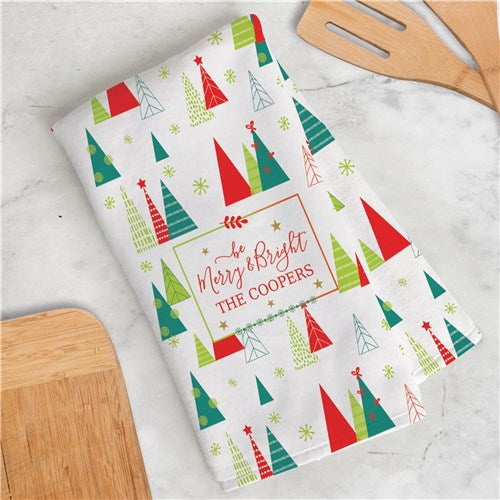 Be Merry & Bright Personalized Dish Towel
