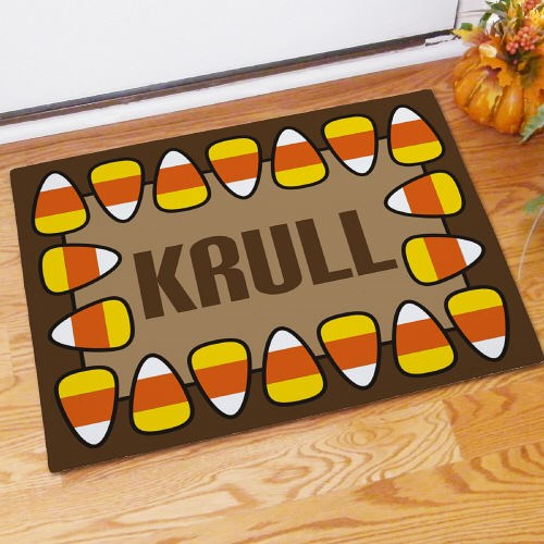 Personalized Candy Corn Halloween Personalized Doormat