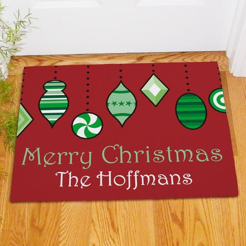 Christmas Ornaments Personalized Doormat