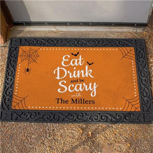 Personalized Eat Drink And Be Scary Halloween Personalized Doormat