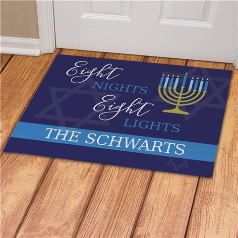 Eight Nights Eight Lights Personalized Doormat