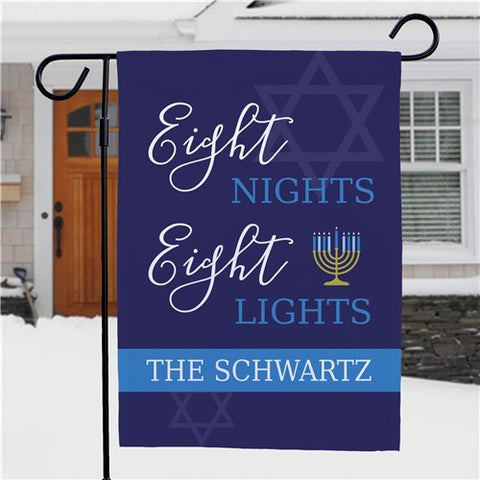 Eight Nights Eight Lights Personalized Garden Flag