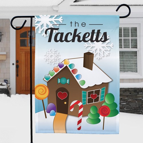Gingerbread House Personalized Garden Flag