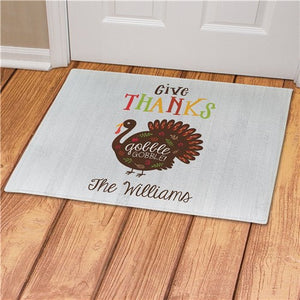 Give Thanks Gobble Gobble Personalized Doormat