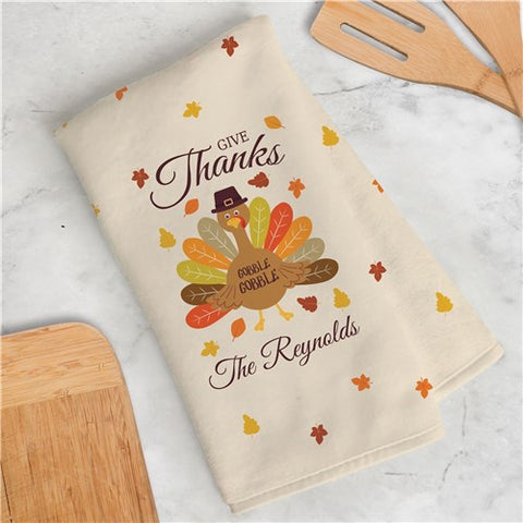 Give Thanks Turkey With Hat Personalized Dish Towel