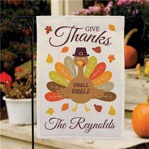 Give Thanks Turkey With Hat Personalized Garden Flag