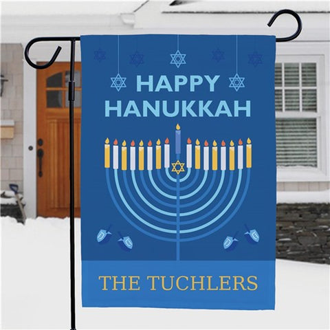 Happy Hanukkah Personalized Garden Flag