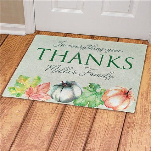 In Everything Give Thanks Personalized Doormat