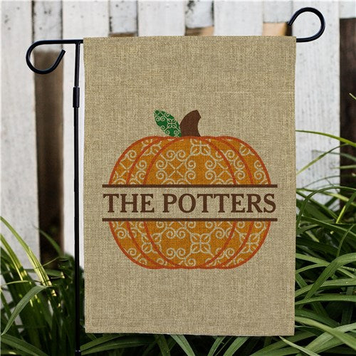 Pumpkin Burlap Personalized Garden Flag