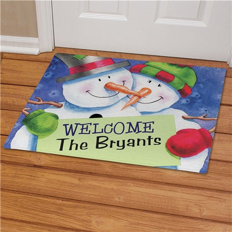 Snow Couple Personalized Doormat
