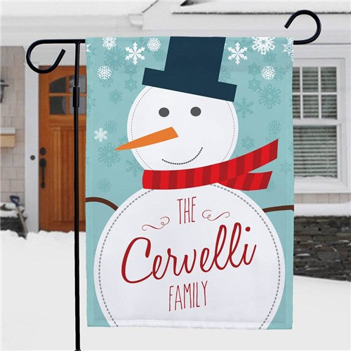 Snowman Personalized Garden Flag