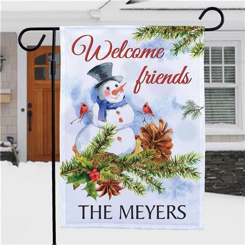 Snowman Welcome Friends Personalized Garden Flag