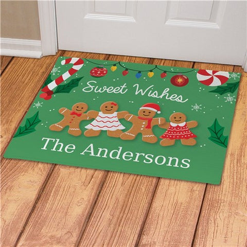 Sweet Wishes Gingerbread Personalized Doormat