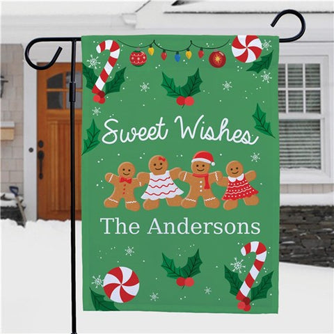 Sweet Wishes Gingerbread Personalized Garden Flag